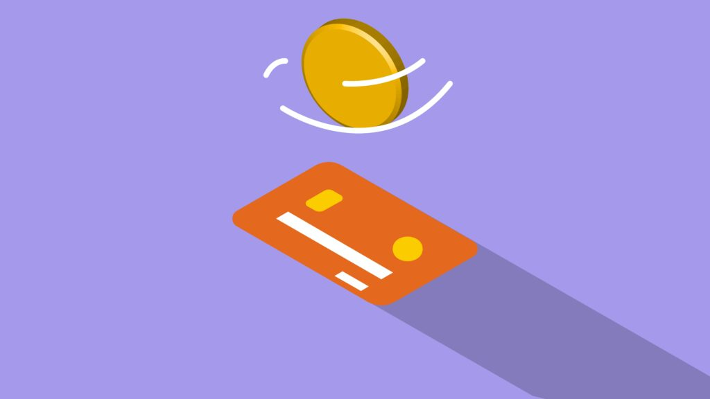Transferring a coin and credit card illustrated