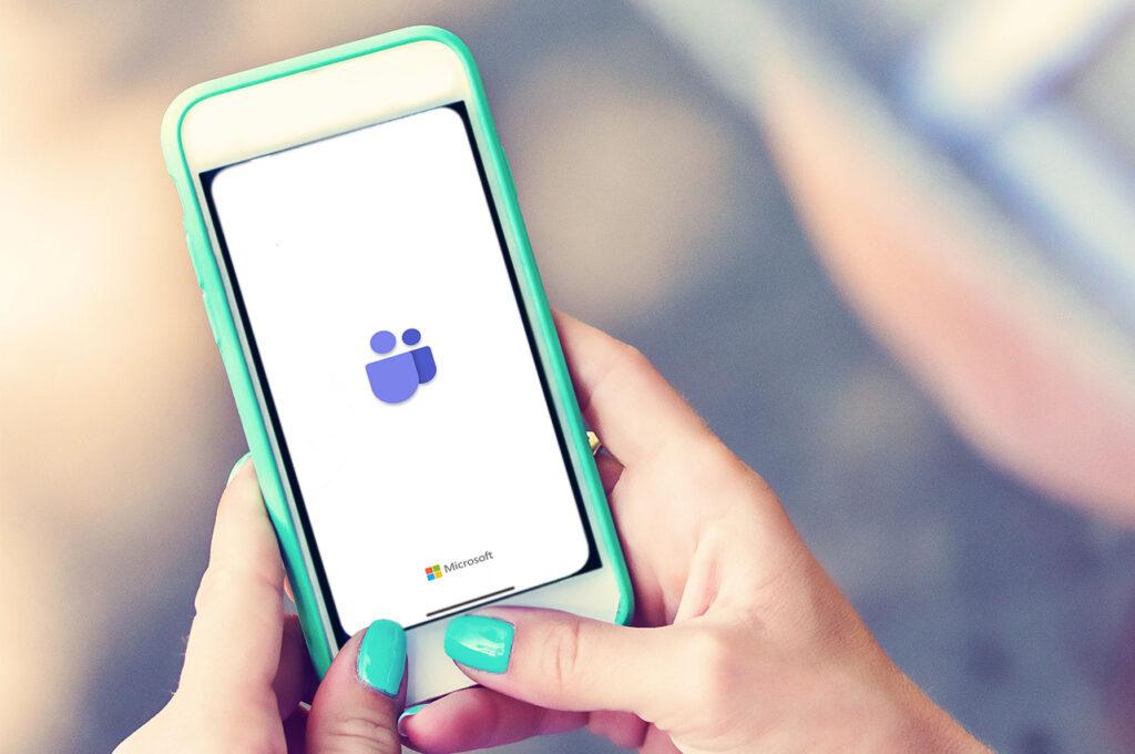 Woman using Microsoft Teams on mobile phone