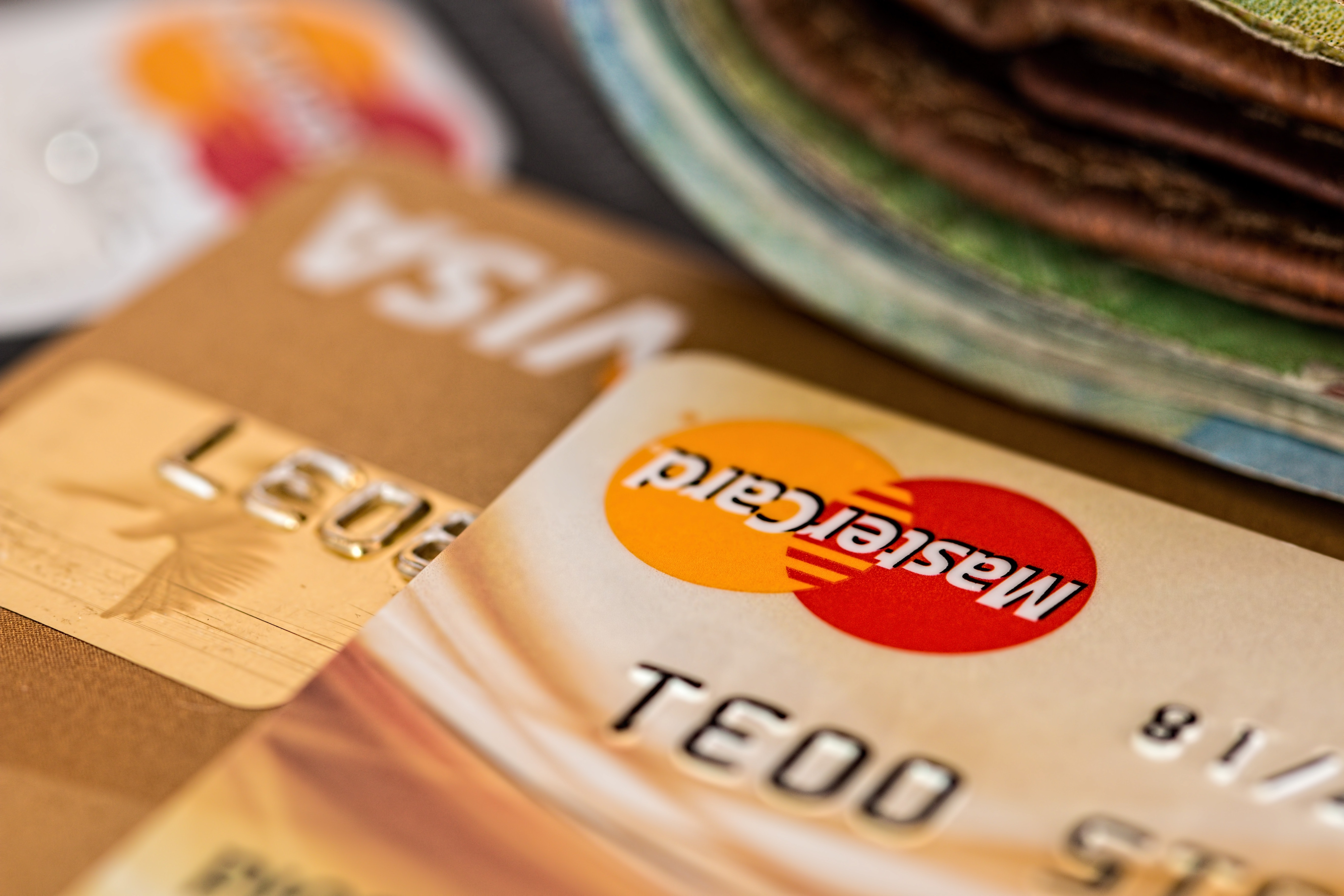 Close up of credit cards, including MasterCard and Visa