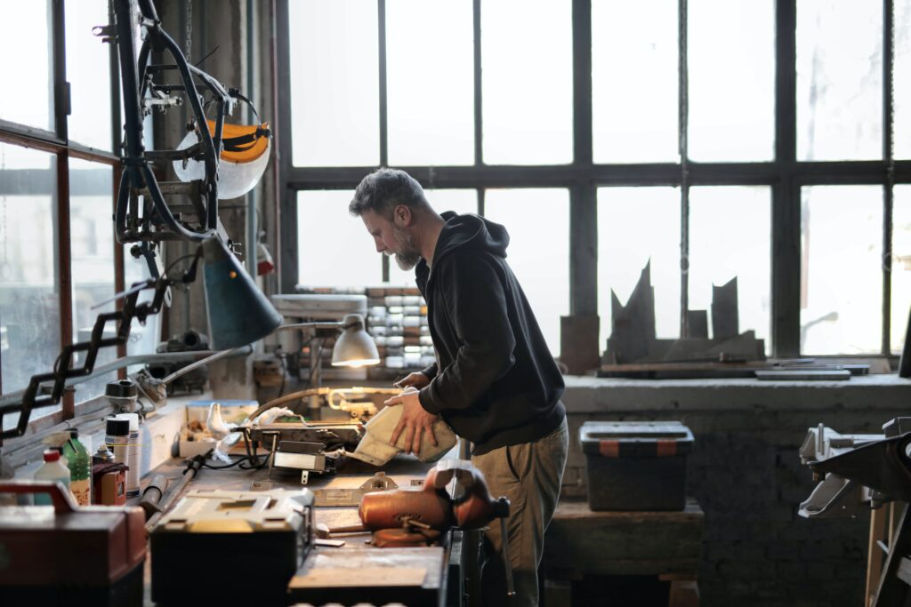 Man working in manufacturing office.